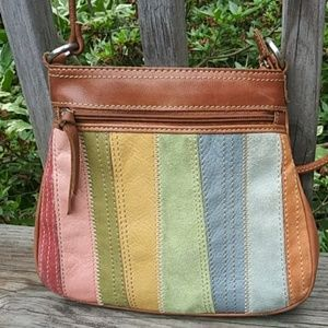 Fossil Pastel Suede & Leather striped Crossbody